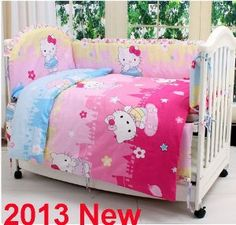 Amazon.com: Hello Kitty Crib Bedding Sets for Girls 7 Pieces Pink Cotton Baby Bedding Nursery Set Removable and Washable with Buckwheat Pillow All Items Can Be Custom Personalized: Baby