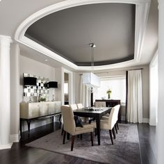 Dining Design Ideas... Love the ceiling! dark floor, gray rug...