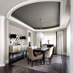 Dining Design Ideas... Love the ceiling! dark floor, gray rug...