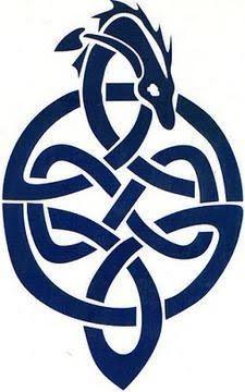 Celtic dragon tattoo on a male's arm. Black Celtic dragon tattoo design drawing. Blue Celtic dragon tattoo flash.