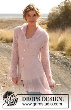 """Knitted DROPS asymmetric jacket with bell edge and lace pattern in """"Vivaldi"""". Size: S - XXXL."""