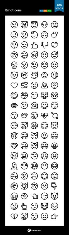 Emoticons  Icon Pack - 100 Line Icons