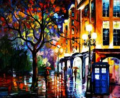 TARDIS ART. Original work by Leonid Afremov on Deviant Art. TARDIS must've been photoshopped in.. But still Awesome!
