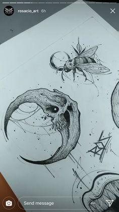 New origami dessin chouette Ideas Creepy Drawings, Dark Art Drawings, Creepy Art, Art Drawings Sketches, Tattoo Sketches, Tattoo Drawings, Tattoo Art, Skull Tattoos, Cute Tattoos
