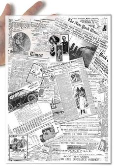 Decoupage paper with a newspaper design: A collage of old, historical newspaper…