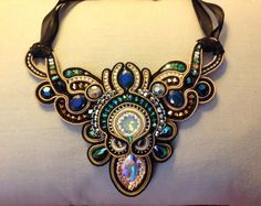 Soutache embroidered necklace by Amytea