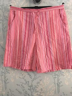 059cfc4529f3 LAUREN TAYLOR Women s Pink Striped Shorts L-XL Summer Elasticated BNWT   fashion  clothing