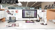 Cubicle Makeover Ideas - Office Desk Decorations - House Beautiful I want to tackle my cubicle now! Work Cubicle Decor, Cubicle Walls, Cubicle Ideas, Cubicle Makeover, Office Makeover, Office Organization At Work, Office Desk, Office Chairs, Cubicle Organization