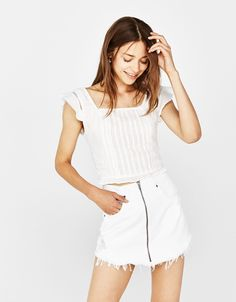 Blouse with lace insert detail - null - Bershka United Kingdom Summer Wear, Spring Summer, Its Time To Stop, Lace Insert, Summer Collection, White Shorts, Basic Tank Top, Zara, Satin