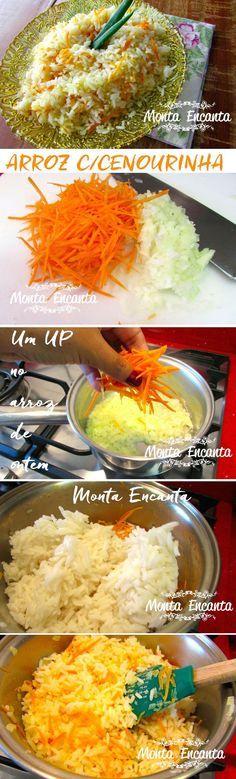 Como deixar o arroz de ontem delicioso, preparando um arroz com cenoura.