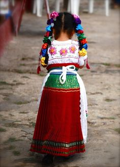 Mexican girl with long braids