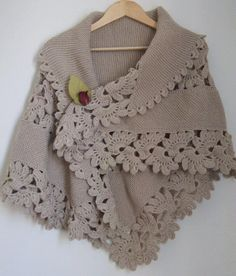 Turkish site - knit shawl with crochet edging - edging has pictorial pattern, really pretty.