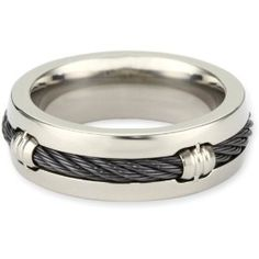 Edward Mirell Men's Grey Titanium Barrel Ring with Black Memory Cable, Size 9, (titanium, amazoncom collection, mens wedding bands, mens wedding ring, titanium wedding ring, mens rings)