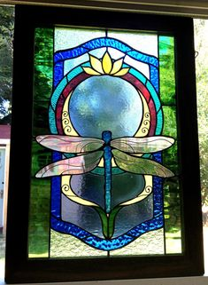 Gold Lotus Dragon Fly   Stained glass panel   Nature   Meditation   Wood frame