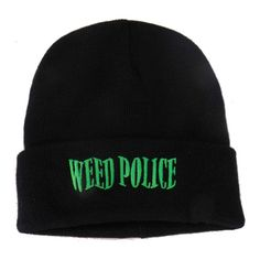 Electric green embroidery really stands out on this long black attractive beanie. Weed, Police, Beanie, Embroidery, Stitch, Knitting, Black, Needlepoint, Full Stop