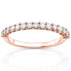 Annello by Kobelli 14k White Gold 1/2ct TDW Diamond Wedding Band (G-H, I1-I2) (Rose - Size 9), Women's