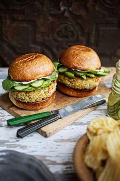 Tuna Burgers with Wasabi Mayo and Quick Cucumber Pickle Recipe