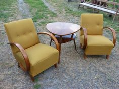Pair of Jindřich Halabala arm chairs, Outdoor Furniture Sets, Outdoor Decor, Arm Chairs, Retro Design, 1950s, Vintage, Home Decor, Wing Chairs, Decoration Home