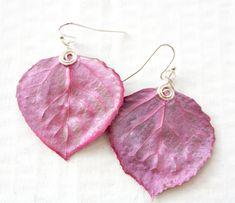 Magenta Pink Aspen Leaf Earrings Bridesmaid by HopeFilledJewelry