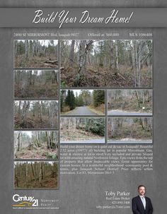 NOW PENDING Cheers Toby Parker  Build your dream home on a quiet cul de sac in Issaquah! Beautiful 2.52 acres (109771 sf) building lot in popular Mirrormont.  Gas, water & electric at lot/in street.Very secluded and private. Sloped lot with amazing natural Northwest foliage. Epic views from the top of property that allow impeccable views. . In a wonderful neighborhood -community pool & tennis,plus Issaquah School District! Price reflects sellers motivation. Recent reduction in price after…