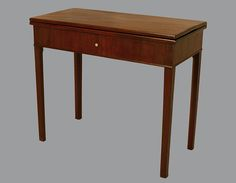 """Halifax County, North Carolina Game table - Circa 1790, Mahogany with yellow pine, maple & walnut secondary; swing leg supports leaf; ivory button at center front frame. Attributed to the """"WH"""" cabinetmaking school. This table was purchased by Frank Horton & has been displayed at the Museum of Early Southern Decorative Arts for the past 15 years. Discussed in the book 'W H Cabinetmaker, A Southern Mystery Solved' by  Newbern & Melchor as figure 396, page 254. Attributed to William Seay."""