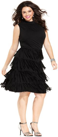 cf45e36f075 Plus Size Cocktail Dresses That Are So Ready To Party Spense Plus Size  Tiered Fringe Dress