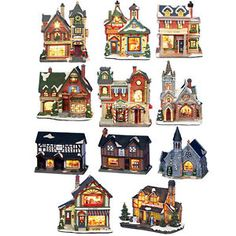 CHRISTMAS CERAMIC LIGHT UP BUILDING DECORATIONS - 8 BUILDINGS - XMAS ORNAMENTS