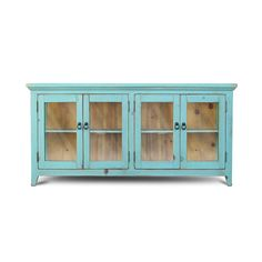 Our Block Console Cabinet is a very versatile piece of furniture, be it as an entertainment console, sideboard or an entryway console. Constructed with Raised Panel sides and wood framed glass doors and shown in our Weathered Turquoise finish with Natural backs. Please feel free to contact us with any questions you may have at 951-387-9742. Block Console Cabinet 72 x 18 x 36 4 doors w/shelf [ doors available in glass, raised panel, wire ] Vintage Mill Werks is a small family run Bouti...