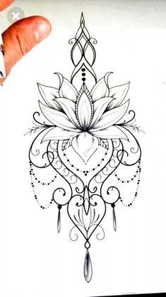 Mandala Tattoo Design, Mandala Thigh Tattoo, Lotus Flower Tattoo Design, Lotus Flower Mandala, Lotus Mandala Design, Mandala Flower Tattoos, Lotis Flower Tattoo, Thigh Henna, Moon Mandala