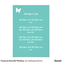 Turquoise Simple Butterfly Wedding Stationary 9 Cm X 13 Cm Invitation Card