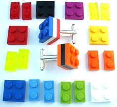 3 Tier Cufflinks - silver plated - Handmade with LEGO(r) Bricks on Etsy, Lego Jewelry, Lego Wedding, Wedding Stuff, Purple Plates, Used Legos, Lego Building Blocks, Handmade Christmas Decorations, Lego Brick, Display Boxes