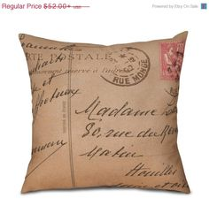 ON SALE Pillow Cover  French Postcard 1 of 3  Fits by OsoAndBean, $36.40