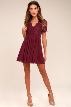 5bc22a1c39 Angel in Disguise Burgundy Lace Skater Dress Maroon Lace Dress