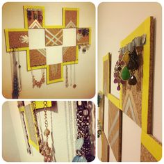 DIY jewelry holder made with just cork board, tape, paper and pins.