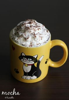 mocha chocolate drink topped with whipped coconut cream! #hotchocolate