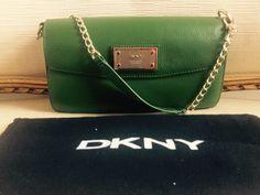 DKNY Green Leather Chain Shoulder Flap Bag #DKNY #ShoulderBag
