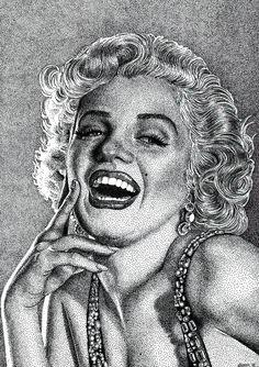 Dotted Drawings, Art Drawings For Kids, Stippling Drawing, Marilyn Monroe Artwork, Art Alevel, Hyper Realistic Paintings, Dot Art Painting, Caricatures, Pen Art