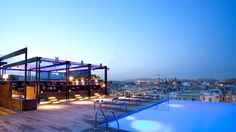 ROOF TOP: Grand Hotel Central Sky Bar, infinity pool, Barcelona, Spain, Harpers Bazaar (※not good to stay at the hotel though, only roof top)