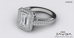 Emerald Diamond Elegant Engagement Halo Ring GIA G SI1 14k White Gold 3.25 ct