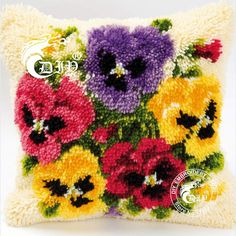 Gancho pestillo Kits de cojín de regalo costura DIY ganchillo Throw Pillow inacabada bordado de hilo Set almohada violetas flores(China (Mainland))