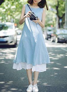 Bavlna Jednobarevný Bez rukávů Do půl kotníků Neformální Šaty