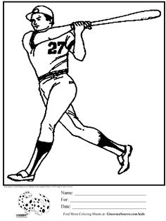 coloring page for boys baseball batter