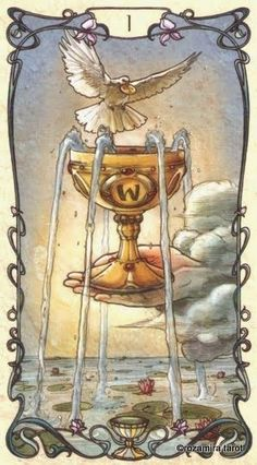 Image result for ace of cups mucha tarot