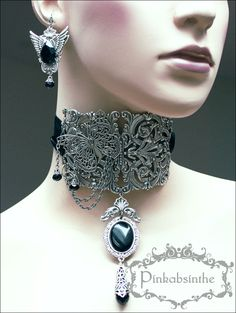 Filigree neck corset and winged earrings II by Pinkabsinthe on ...