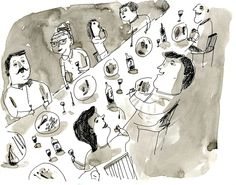 """A festive dinner party featuring food, drinks and friends.  Pen and ink wash on 9"""" by 12"""" bristol paper"""