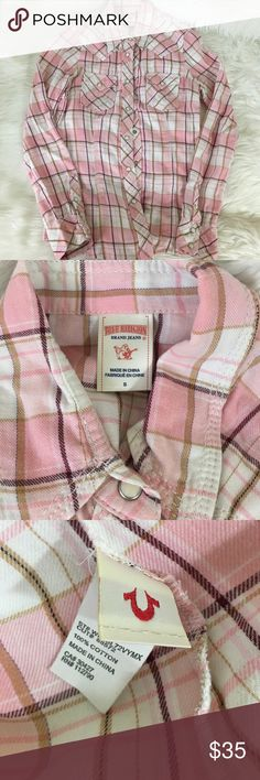 "True Religion Plaid Button Down In excellent condition, pink True Religion Plaid top. Roughly 26"" long, and 100% cotton. Super cute with jeans and boots. Feel free to ask any questions! True Religion Tops Button Down Shirts"
