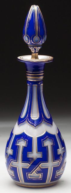 Perfume Bottle, cut overlay crystal, 3 layers ? blue, transparent, opalescent, 19th c