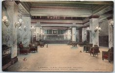 """Oklahoma City Postcard """"Lobby, LEE HUCKINS HOTEL"""" Hand-Colored Albertype Unused"""