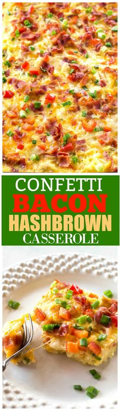 Confetti Bacon Hash Brown Breakfast Casserole - a great breakfast for entertaining filled with cheesy hash browns, eggs, chilies, green onions, and red bell pepper. the-girl-who-ate-everything.com