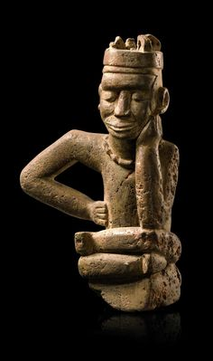 """Bakongo - """"ntadi"""" means guarding spirit. Such figures were placed on the graves of notables. The varying postures express different emotions. H: cm African Masks, African Art, Art Central, African Origins, African Sculptures, Different Emotions, Sculpture Painting, Art Auction, Tribal Art"""